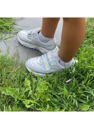 Kids A More Catey Çift Cırtlı Pu Deri Kız Çocuk Sneaker  Gümüş